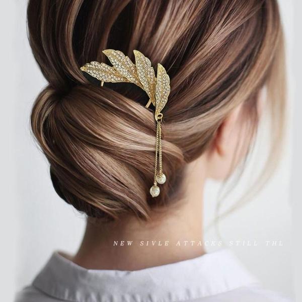 盤髮神器金屬流蘇髮簪丸子頭盤髮器頭飾女珍珠髮夾后腦勺髮卡簪子 小天使