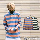 【OBIYUAN】POLO衫 撞色 條紋 長袖上衣 長袖衣服 共2色【Y0833】