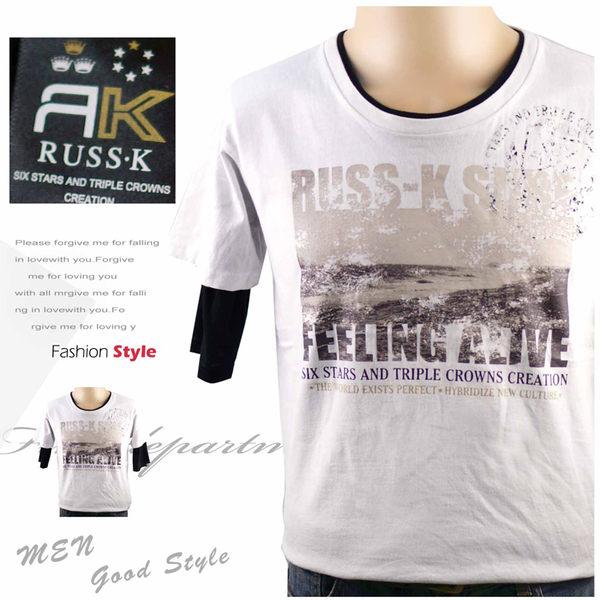 【大盤大】RUSS‧K 男 全新 薄T恤 兩件式 短袖T恤 組合價 可拆式 夏 L號  圓領 現貨 涼感衣 運動