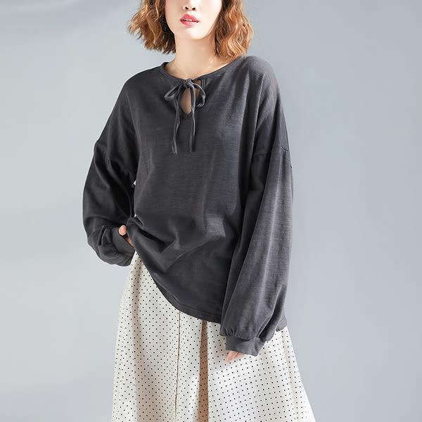 2019新款春裝韓版打底衫上衣長袖文藝寬鬆減齡顯瘦休閒遮肚子T恤