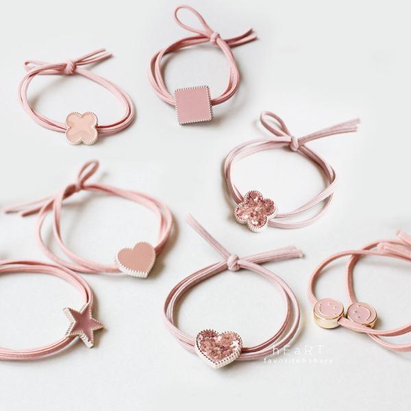 優雅粉色系幾何圖形髮圈 髮圈 髮飾 頭飾 髮繩