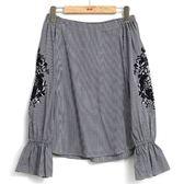秋冬8折[H2O]可兩穿袖子有拼接刺繡網紗平織上衣 - 黑白格/白色 #8655008