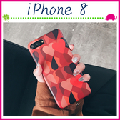 Apple iPhone8 4.7吋 Plus 5.5吋 復古風背蓋 紅色愛心手機套 TPU保護套 全包邊手機殼 撞色保護殼 吊飾孔