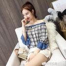 襯衫女設計感小眾輕熟燈籠袖女五分袖一字領上衣女雪紡氣質有垂感 檸檬衣舍