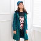 長版外套--時尚休閒亮麗格紋口袋寬鬆襯衫長版連帽運動外套(綠.黃L-3L)-J252眼圈熊中大尺碼◎