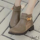 Ann'S簡練感-淺金轉扣拼接平底短靴-咖啡