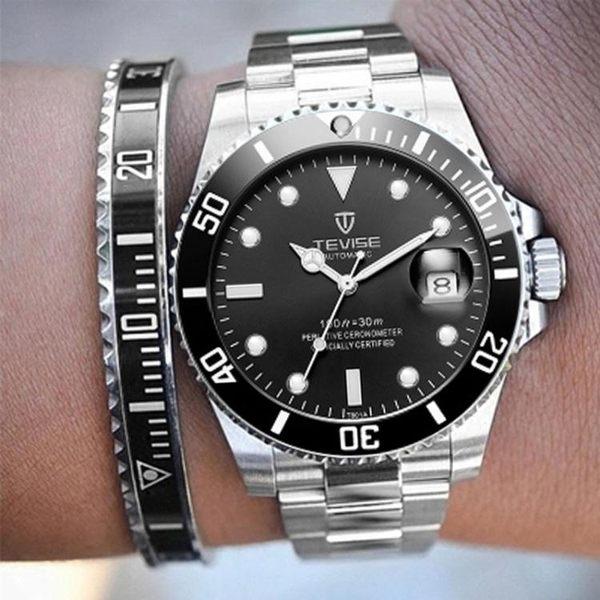 藍綠水鬼黑水鬼手錶 R勞家潛水錶 特種飛行員軍錶 夜光鏤空機械錶 野外之家igo
