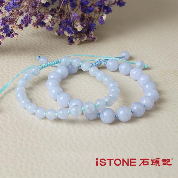 藍紋瑪瑙編結手鍊-粉藍秘密 石頭記