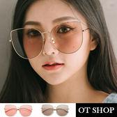 OT SHOP太陽眼鏡‧韓系顯小臉貓眼金屬大框貓框造型海洋片透明片墨鏡‧粉片/香檳茶‧現貨‧U49