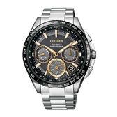 CITIZEN星辰  Eco-Drive 20周年限定款GPS自動衛星對時定位鈦金時尚腕錶-銀X香檳黃CC9015-54F