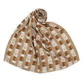 MOSCHINO 經典滿版TOY小熊字母莫代爾材質薄圍巾(卡其色)911006-001