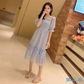 洋裝 遮肚波點魚尾初戀裙甜美收腰方領很仙的法國小眾連身裙