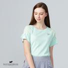 拉格蘭袖X拼接透膚小花布設計針織上衣【AE1449】