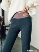 灰色打底褲女秋冬季加絨加厚新款高腰外穿薄款純棉九分衛生褲女 米希美衣