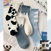 4雙裝 日系中筒襪女黑白奶牛堆堆襪可愛襪子【左岸男裝】