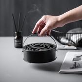 特賣蚊香盒日式復古黑鐵藝蚊香盒帶蓋家用防火接灰鏤空熏香盒蚊香盤托架