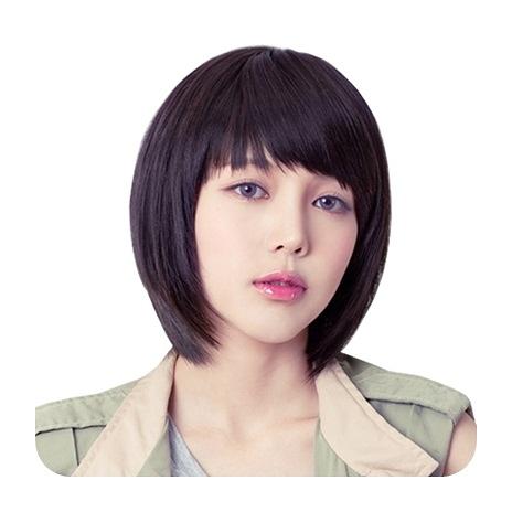 整頂假髮(真髮絲)-直髮斜瀏海內彎短髮女假髮2色73vc7【時尚巴黎】