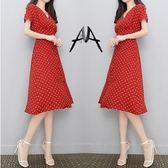 折扣價不退換連身裙V領大尺碼L-4XL洋裝30811/新款v領赫本冷淡風紅色法式少女複古雪紡波點連身裙女