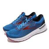Brooks 慢跑鞋 Transcend 7 藍 紅 男鞋 避震 輕量鞋面 運動鞋【ACS】 1103311D481