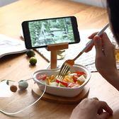 創意陶瓷水果盤帶手機支架家用點心碗現代客廳糖果盤干果盤帶蓋【全館限時88折】