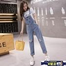網紅減齡牛仔背帶褲女2020新款韓版寬鬆百搭顯瘦夏薄款破洞吊帶褲 8號店
