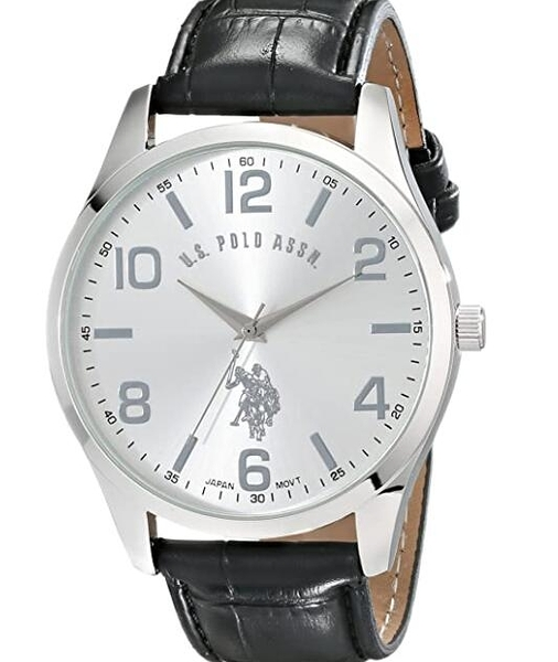 [2美國直購] 手錶 U.S. Polo Assn. Classic Men's USC50224 Silver-Tone Watch with Black Faux Leather Band
