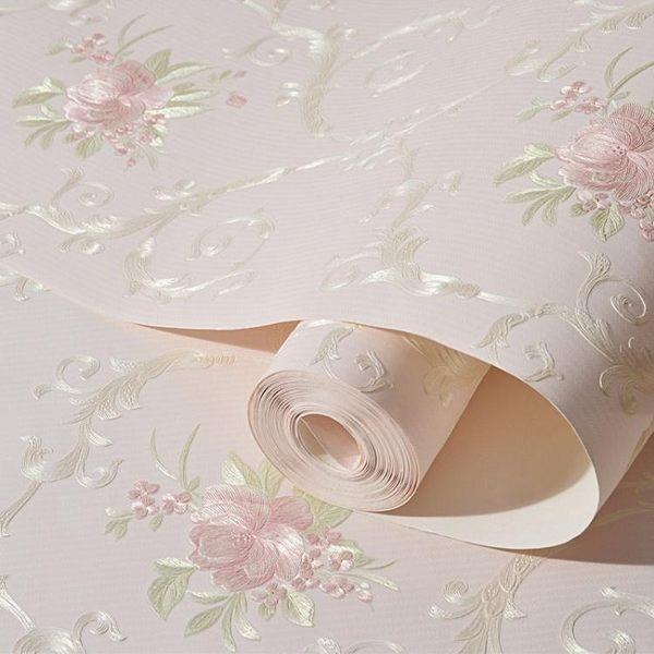 歐式無紡布壁紙自黏牆紙3d立體田園大花溫馨臥室客廳寢室背景貼紙igo 至簡元素