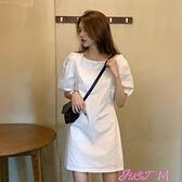 泡泡袖洋裝氣質裙子女裝夏季短袖連身裙2021新款法式復古泡泡袖溫柔風小個子 JUST M