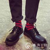 夏季馬丁靴男低幫復古圓頭小皮鞋大頭韓版潮流百搭英倫鞋黑色學生