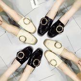 簡約小皮鞋學生韓版百搭樂福鞋方頭中粗跟漆皮單鞋    琉璃美衣