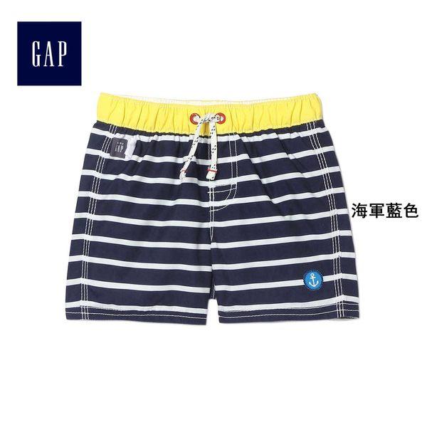 Gap男嬰兒 簡約舒適系帶條紋短褲 402698-海軍藍色