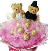 娃娃屋樂園~我的最愛-11朵金莎巧克力+對熊花束 每束700元/情人節花束/婚禮小物/教師節花束