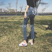 女性直筒褲女 新款高腰牛仔褲女直筒九分褲復古港味褲子 珍妮寶貝