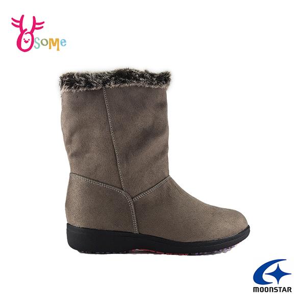 Moonstar月星日本防水靴 雪靴 成人女款 低調優雅時尚發熱機能中筒靴 I9606#灰色◆OSOME奧森鞋業