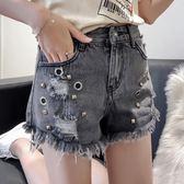 超短褲 高腰牛仔短褲女夏季韓版新款鉚釘破洞流蘇毛邊闊腿性感熱褲潮 夢藝家