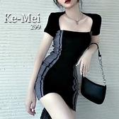 克妹Ke-Mei【AT68235】KOREA氣質名媛單槓撞色方領鎖骨洋裝