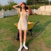 夏季2021新款法式復古波點方領裙子女裝雪紡裙收腰氣質洋裝