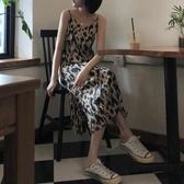 2020新款豹紋吊帶裙女夏季開叉連衣裙長款打底裙背心裙子雪紡長裙 小城驛站