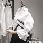 秋裝新款韓範寬鬆V領喇叭袖襯衫女擊帶九分袖白色襯衣上衣潮 韓國時尚週