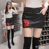 新款顯瘦半身裙女韓版性感百搭刺繡玫瑰花PU皮短裙 東川崎町