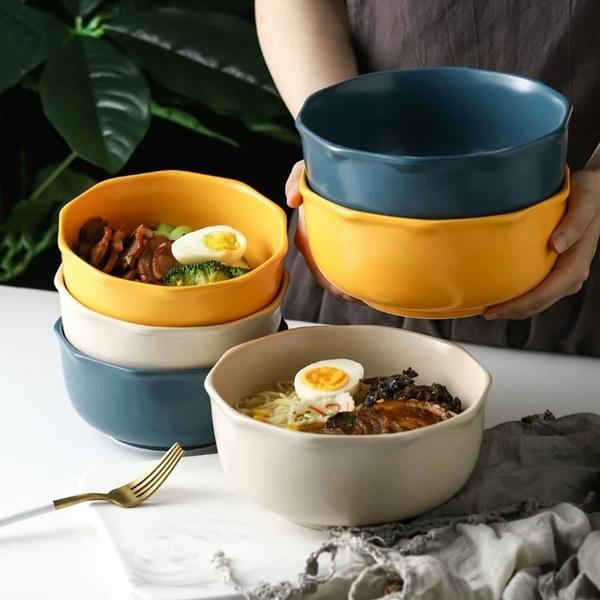 原點居家創意 簡棱系列 7.5吋 十角邊飯碗 湯碗 陶瓷碗 麵碗 三色任選