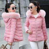 韓版羽絨棉服女短款毛領修身保暖厚棉衣外套 黛尼時尚精品