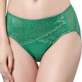 思薇爾-星紗系列M-XXL蕾絲中腰三角褲(長石綠)
