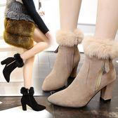 冬季歐洲站新款尖頭絨面磨砂粗跟短靴毛毛高跟鞋百搭馬丁靴女 雲雨尚品