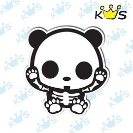 【收藏天地】防水防曬*安全帽 汽機車 萬用貼-骷髏熊貓(小)