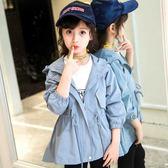 童裝女童外套休閒韓版風衣長袖開襟中長款