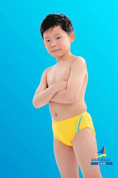 【出清專區 】APPLE蘋果牌泳裝↘成本出清~小男童黃色背面印Q版鯊魚三角泳褲   NO.08203