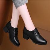 小皮鞋 萊達芙妮克粗跟單鞋女春季百搭英倫風繫帶小皮鞋真皮軟皮中跟女鞋 韓國時尚週