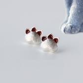 925純銀耳環(耳針式)-精緻可愛貓爪女孩生日情人節禮物女飾品73dr7【時尚巴黎】