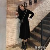 洋裝韓版秋冬新款寬鬆復古蕾絲花邊拼接假兩件洋裝女百搭長裙潮 蓓娜衣都